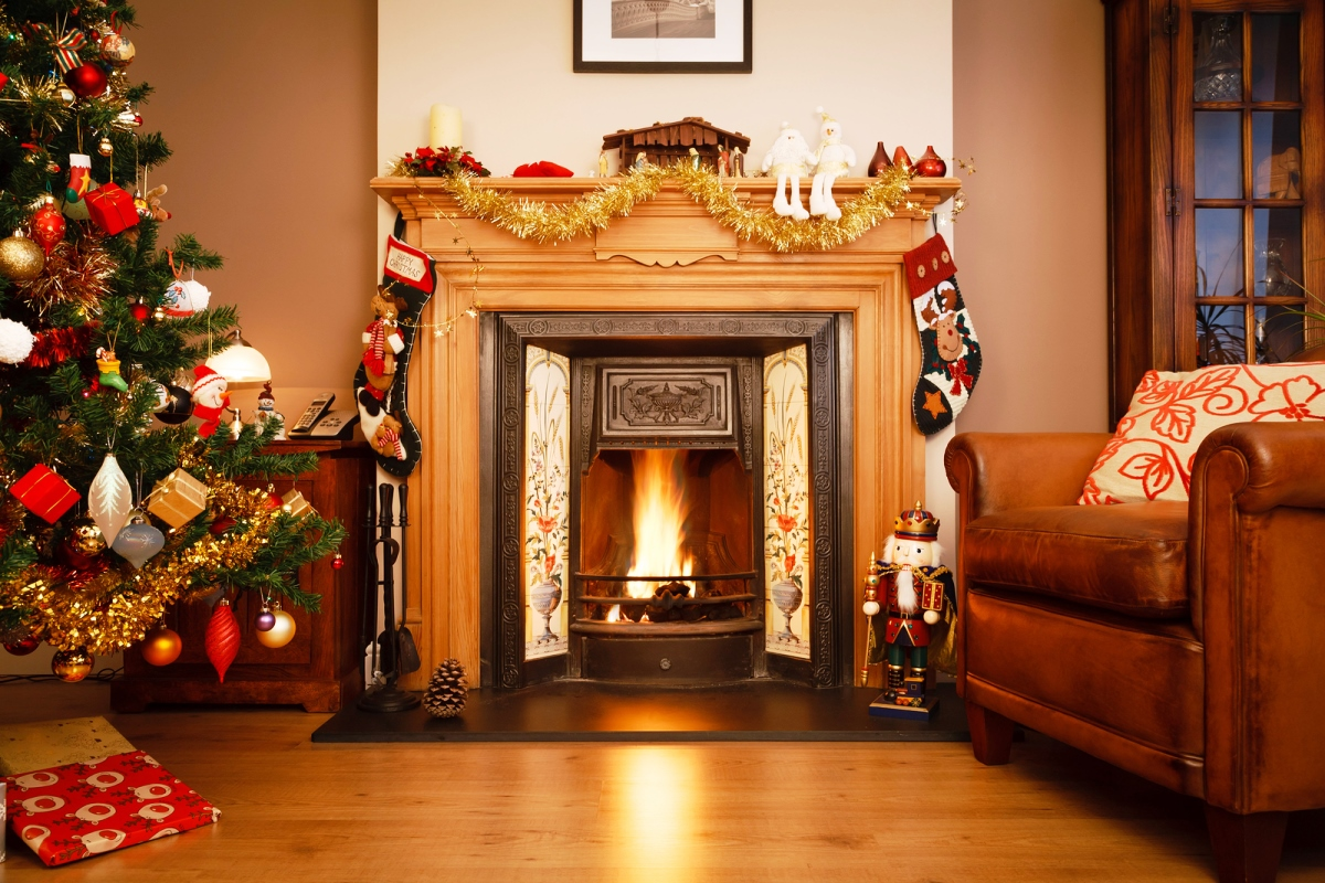 Fireplace can be a great spot to decorate for Christmas. Use led strings